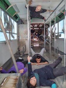 On s'amuse dans le bus de la Cité des Arts de la Rue !