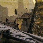 Session nocturne sur le toit du Palais des Papes à Avignon, pendant la seule neige de l'année. Magnifique édifice.
