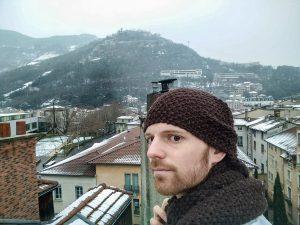 En hiver, la Bastille vue de mon toit.