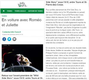 Wild Side Story, Novembre 2016, Info Tours, Tours
