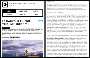 Le parkour en 2011 Mars 2012, Glazed Magazine, Grenoble