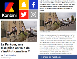 Le Parkour, une discipline en voie de s'institutionnaliser ? Octobre 2014, Konbini, Paris