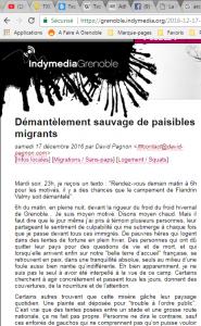 Décembre 2016, Indymedia, Grenoble Démantèlement sauvage de paisibles migrants